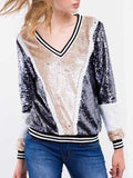 Navy Apricot Long Sleeve Color Block Sequined Sweatshirt - Crystalline