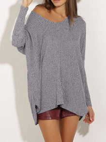 Grey V Neck Loose Sweater - Crystalline