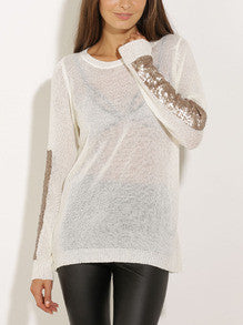 White Long Sleeve Sequined Sweater - Crystalline
