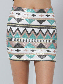 Multicolor Geometric Sequined Bodycon Skirt - Crystalline