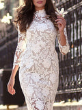 White Three Quarter Length Sleeve Lace Sheath Dress - Crystalline