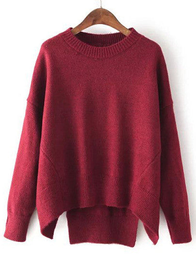Burgundy  Round Neck Split Loose Sweater - Crystalline