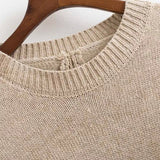Camel Round Neck Split Loose Sweater - Crystalline