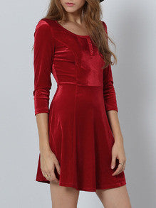 Red Round Neck A Line Dress - Crystalline