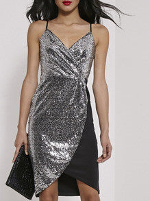 Silver Spaghetti Strap Color Block Sequined Dress - Crystalline