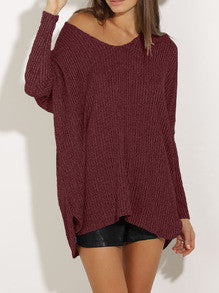 Burgundy Long Sleeve Loose Sweater - Crystalline