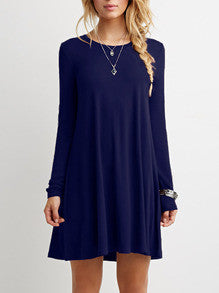 Blue Long Sleeve Casual Dress - Crystalline