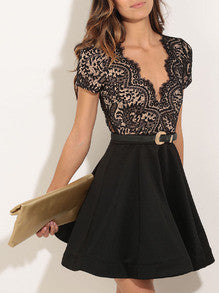 Black Short Sleeve With Lace Flare Dress - Crystalline