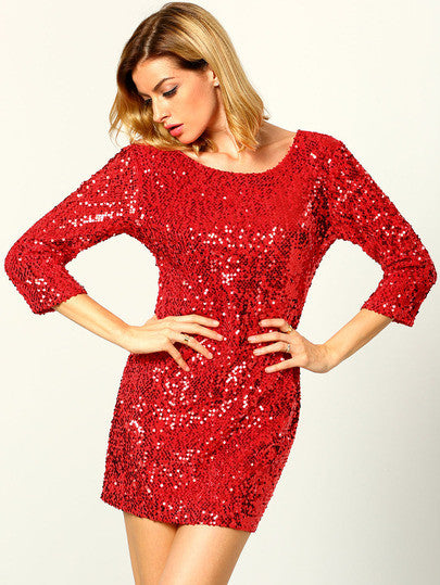 Red Round Neck Sequined Bodycon Dress - Crystalline