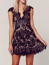 Black Cap Sleeve Lace Dress - Crystalline
