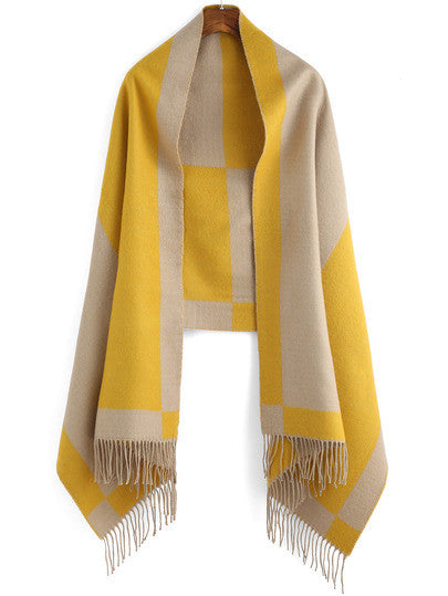 Colour-block Tassel Scarve - Crystalline