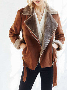 Brown Long Sleeve Lapel Zipper Jacket - Crystalline