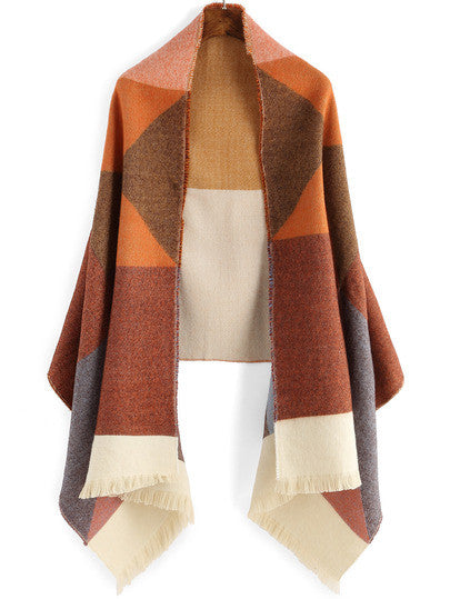Colour-block Fringe Scarve - Crystalline
