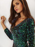 Green Long Sleeve Sparkles Sequined Glitzy Bodycon Dress - Crystalline