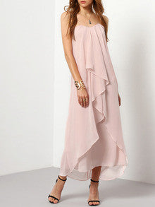 Pink Strapless Ruched Maxi Dress - Crystalline