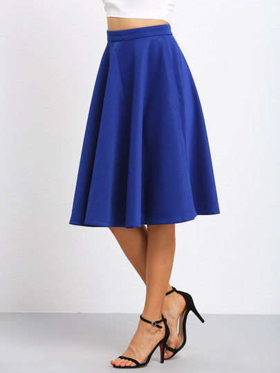 Blue High Waist Flare Long Skirt - Crystalline