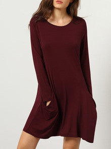 Burgundy Long Sleeve Pockets Dress - Crystalline