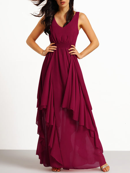 Burgundy Deep V Neck Maxi Chiffon Dress – Crystalline 8a1995805