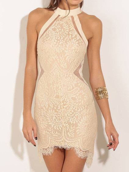 Halter Lace Bodycon Dress - Crystalline