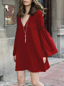 Red V Neck Bell Sleeve Shift Dress - Crystalline
