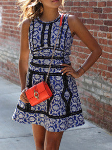 Blue Folk Print Dress With Contrast Trims - Crystalline