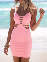 Pink Spaghetti Strap Hollow Out Bodycon Dress - Crystalline
