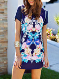 Floral Dress Spring - Multicolour Floral Shift Dress - Crystalline