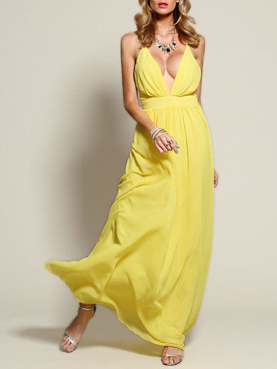 Yellow Spaghetti Strap V Neck Maxi Dress - Crystalline