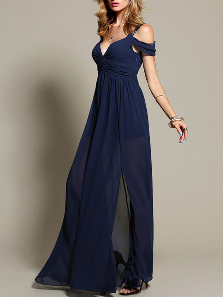 Navy Cold Shoulder V-Neck Side Slit Maxi Dress