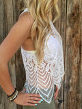 White Crochet Lace Tank Top - Crystalline