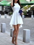 White Sleeveless Asymmetric Hem Flare Dress - Crystalline