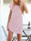 White Striped Shift Dress - Crystalline