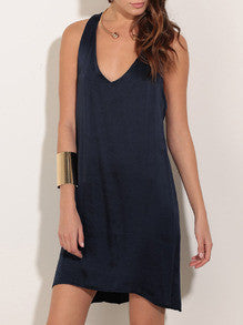 Navy Scoop Neck Backless Dress - Crystalline