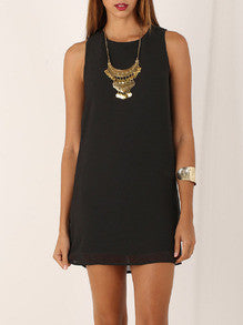 Black Crew Neck Sleeveless Shift Dress - Crystalline