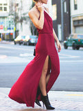 Burgundy Halter Slit Maxi Dress - Crystalline