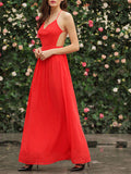 Red Spaghetti Strap Backless Elegent Maxi Dress - Crystalline