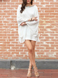 White Long Sleeve Backless Embroidered Dress - Crystalline