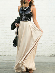 Black Apricot Sequined Splicing Flare Maxi Dress - Crystalline