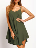 Army Green Criss Cross Back Asymmetrical Sundress