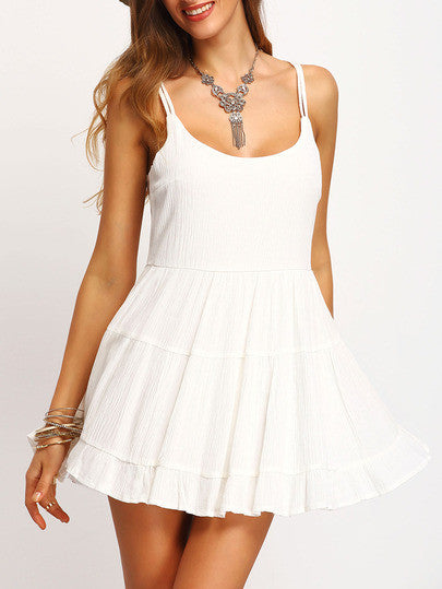 White Spaghetti Strap Backless Ruched Dress Crystalline