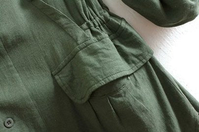 Army Green Single Breasted Pockets Coat - Crystalline