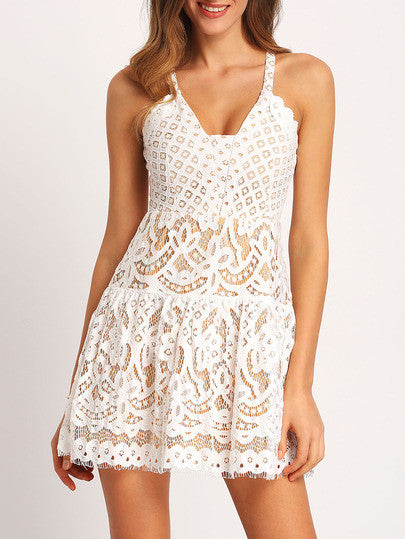 White Spaghetti Strap Hollow Lace Dress - Crystalline