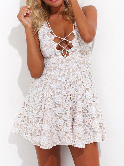 White Deep V Neck Hollow Lace Dress - Crystalline