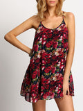 Multicolor Spaghetti Strap Hollow Floral Dress - Crystalline