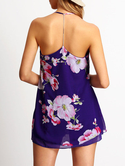 Purple Spaghetti Strap Floral Chiffon Dress - Crystalline