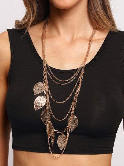 Hollow Out Leaves Wrap Link Necklace - Crystalline