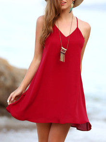 Red Backless Spaghetti Strap Beach Dress - Crystalline
