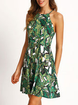 Green Halter Floral Print Backless Dress - Crystalline