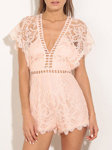 Pink V-neck Batwing Sleeve Hollow Lace Jumpsuit - Crystalline