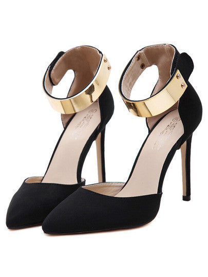 Metal-Ankle-Strap-Black-Point-Toe-Pumps - Crystalline